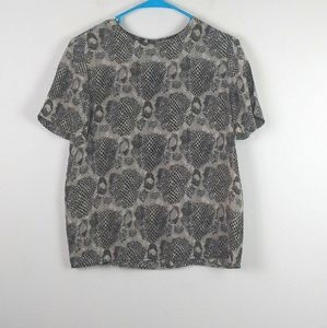 Anna and Frank Animal print Silk Short Sleeve Top